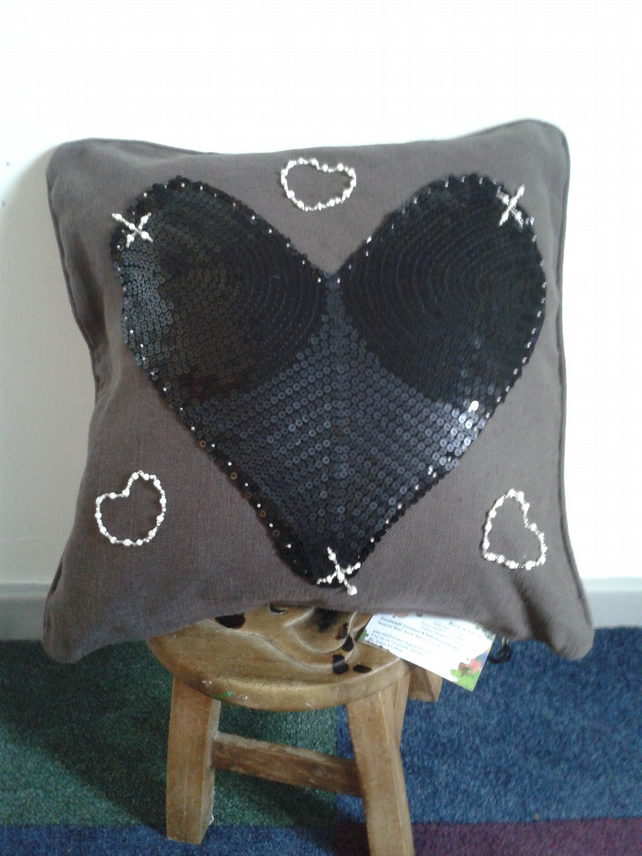 Hearts and Xxx Cushion cover maid-of-fabric.