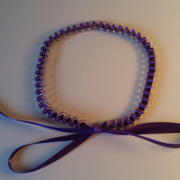SALE Purple ribbon ring necklace.