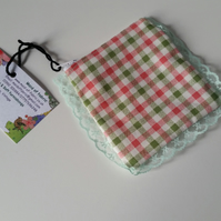 SALE Coin purse with edging maid-of-fabric