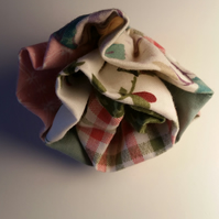 Flower fabric shabby chic brooch