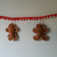 Gingerbread men garland - bunting decoration