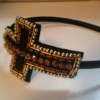 Beaded cross headband