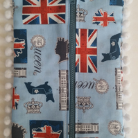 Blue queen print pencil case with bobble trim. Free uk delivery.