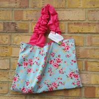 Blue and Pink floral tote bag, free uk delivery.
