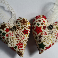 Heart hanger pair in stars fabric