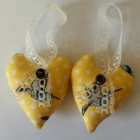 heart hangers pair yellow bird print