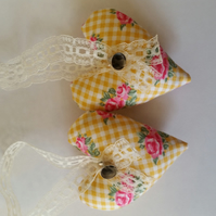 Heart hanger pair in pink flowers fabric