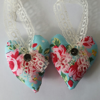 Heart hanger pair in blue floral print fabric
