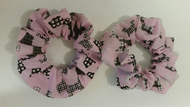 Scrunchie in pink scottie dog fabric. 3 for 2 offer.