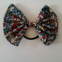 Hair bobble bow in teal cherry red pattern