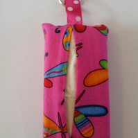 Tissue holder keyring in pink butterfly fabric.