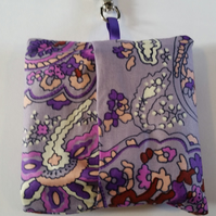 Bag for life keyring holder in purple pattern fabric.