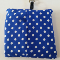 Bag for life keyring holder in blue polkadot.