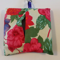 Bag for life keyring holder in purple floral fabric