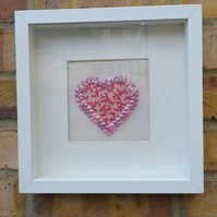 Pink heart deep box frame. Free uk delivery.