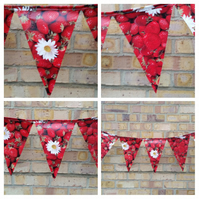 Strawberry bunting in pvc, oil cloth. Free uk delivery. Sale.