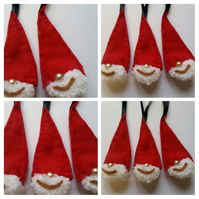 Santa Christmas tree decorations - 3 pack.