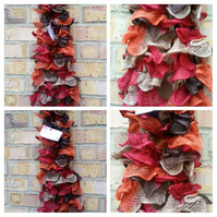 SALE Ruffled scarve in autumn colours.