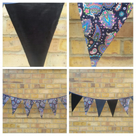 Blues theme bunting, 10 triangles. Free uk delivery.