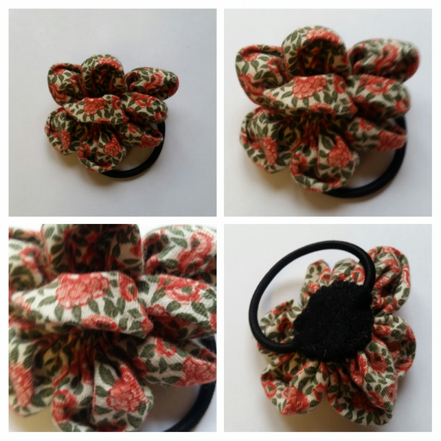 Flower hair bobble band. Free uk delivery.