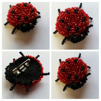 Ladybird Brooch red and black seed beads