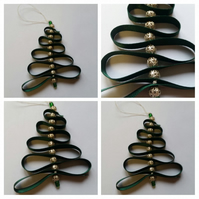 Green ribbon Christmas tree decoration
