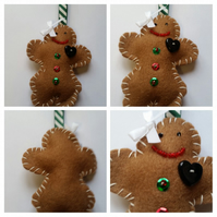 Mrs gingerbread man Christmas tree decoration