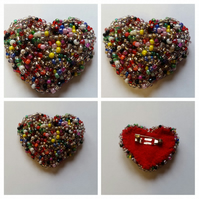Beaded Heart Brooch