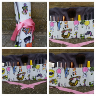 Cosmetic wrap in crazy cat fabric. Free uk delivery.