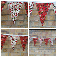 Bunting in Christmas stars fabric. Free uk delivery.