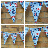 Bunting in Queen themed fabric. Free uk delivery.