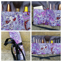Makeup bag  - wrap in purple pattern fabric. Free uk delivery.