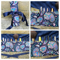Makeup wrap - makeup bag in navy patterned fabric.
