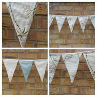 Bunting in cream and green floral, tea party, high tea.
