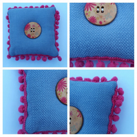 Pin cushion in blue with pink bobble trim. Free uk delivery.