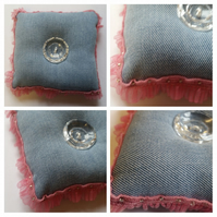 Pin cushion in blue upcycled denim with pink ruffled trim. Free uk delivery.
