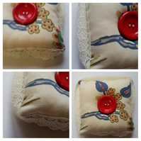 Pin cushion in cream with lace trim upcycled fabric