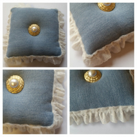 Pin cushion in denim with lace
