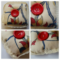 Pin cushion in cream floral and bird upcycled fabric with lace
