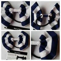 Hair bobble bow band in navy and white stripe fabric.