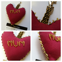 Keyring, bag charm, beaded mum heart in cherry red and gold.