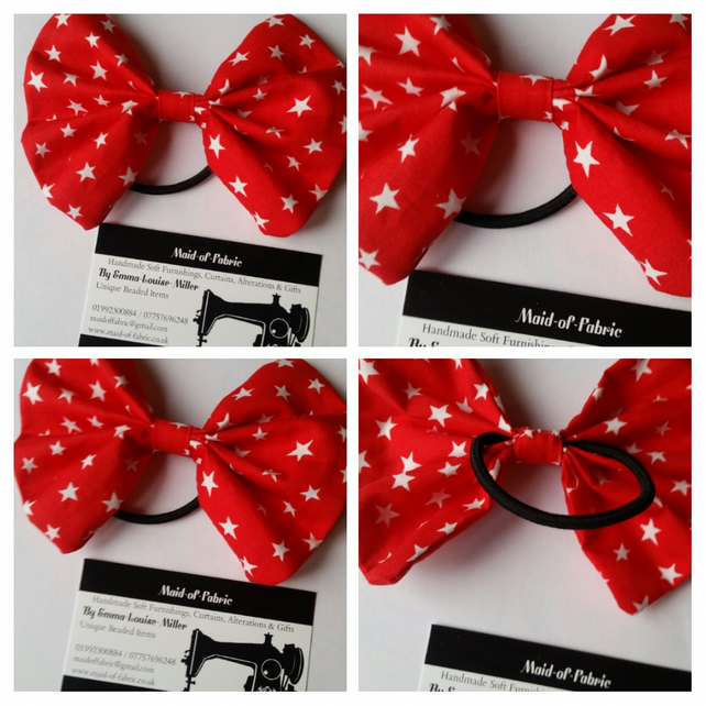 Hair bobble bow in red star fabric. 3 for 2 offer.