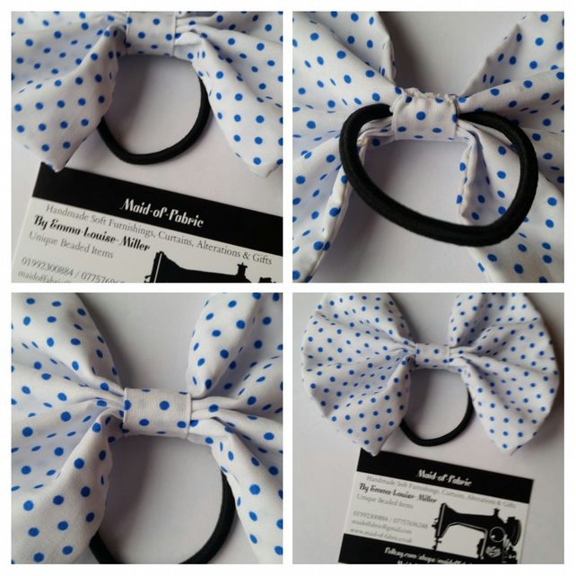 Hair bobble bow in white and blue polkadot fabric. Free uk delivery.