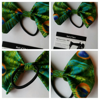 Hair bobble bow band in peacock fabric. 3 for 2 offer.