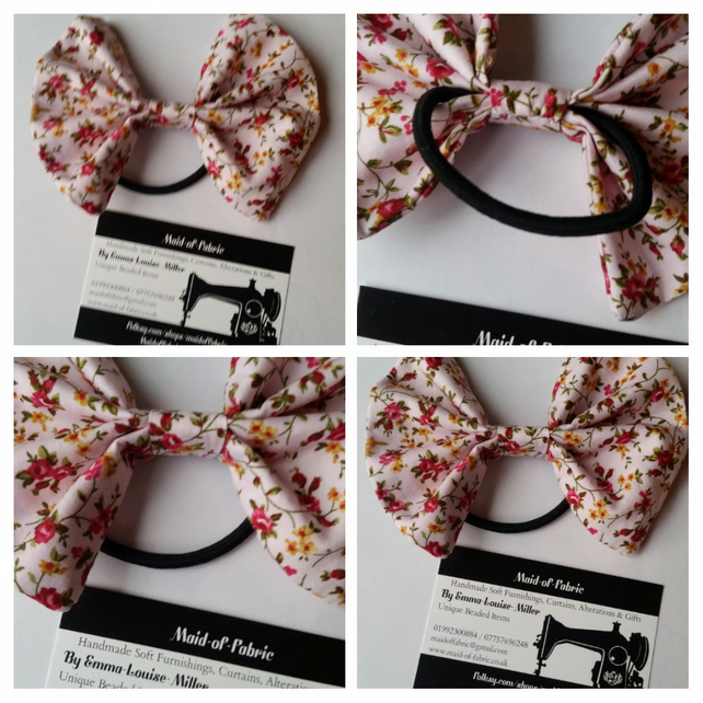 Hair bobble bow band in pink floral fabric.