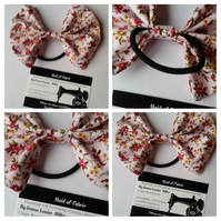 Hair bobble bow band in pink floral fabric. 3 for 2 offer.