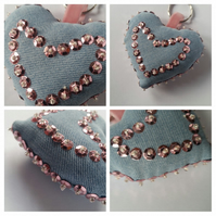 Keyring beaded heart in pink, upcycled denim. Free uk delivery.