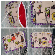 Pencil case in crazy cat fabric with purple bobble trim
