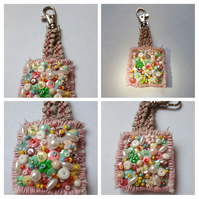 Keyring beaded with seed beads, sequins and pearls