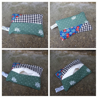 Tissue holder in green with black and white check.